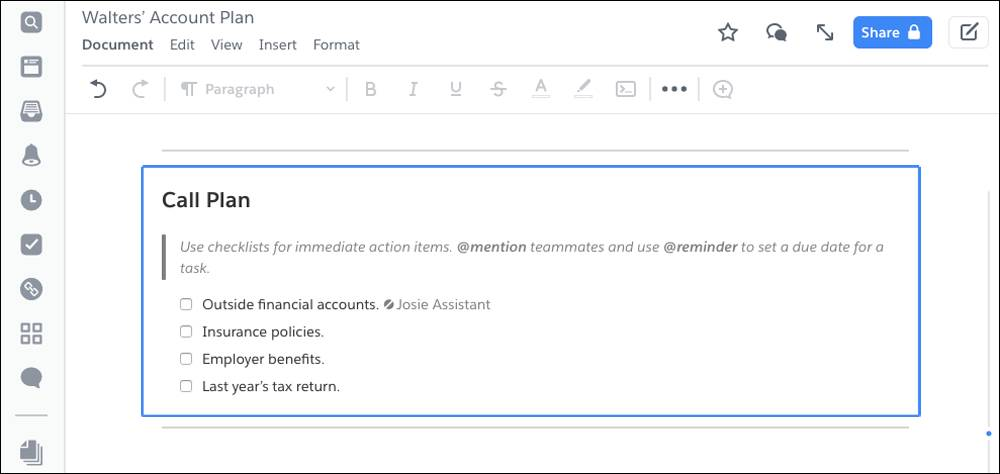 Part of the account plan template in Quip. Shows potential checklist items, which is the data required from the client in order to close. Check boxes include Outside financial accounts, Insurance policies, Employer benefits, and Last year's tax return.