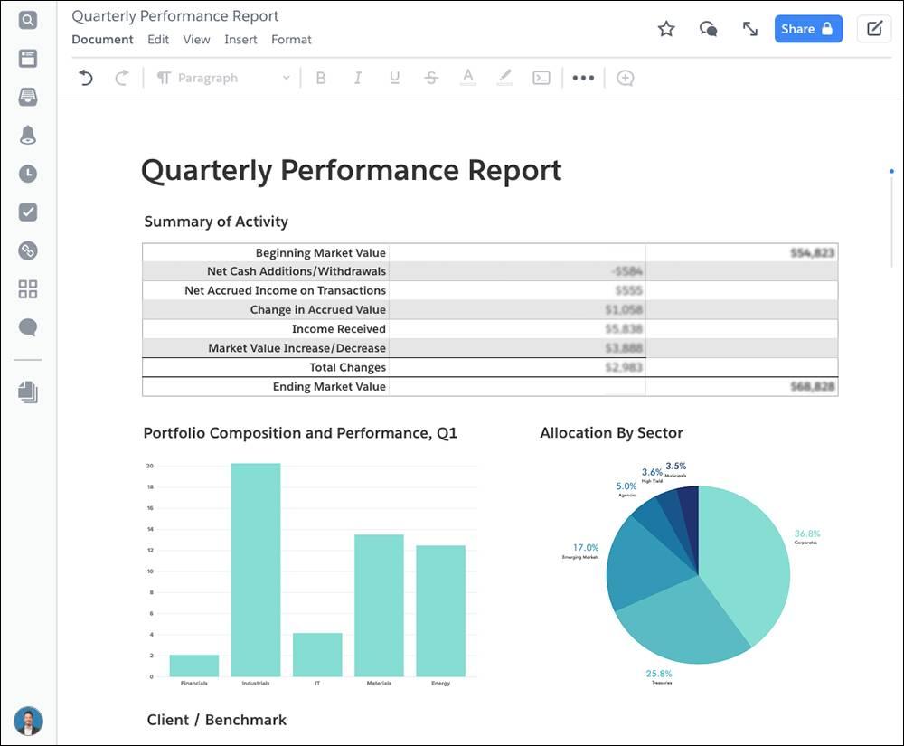 Un rapport de performances trimestrielles avec des graphiques.
