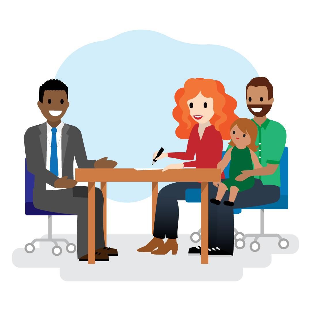 Damien と Walter 一家がオフィスに座っています。Walter 氏は娘を抱いていて、Walter 夫人は書類に署名しています。