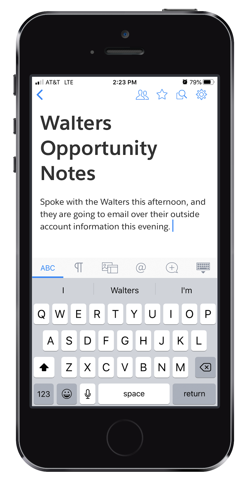 A mobile phone showing Damien editing the Walters's opportunity notes in Quip.