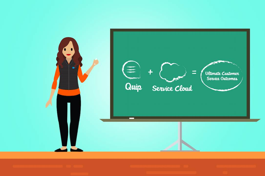 Service agent standing next to a chalkboard with a drawing that represents how Quip for Service & Service Cloud help service agents do better work on behalf of their clients.