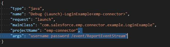 """A code block displaying the Visual Studio Code Java Extension Pack and """"args"""": """"username password /event/ReportEventStream"""" highlighted"""