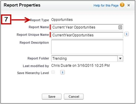 Report properties dialog