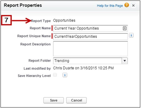 Report properties dialog