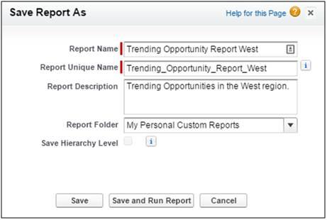 Dialogfeld zum Speichern von Berichten