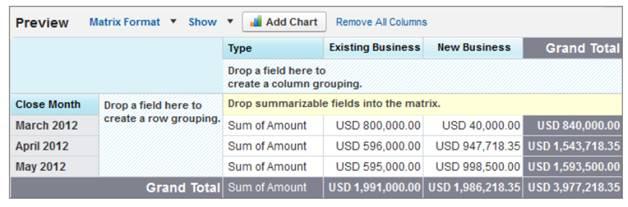 Beispiel für einen Matrixbericht