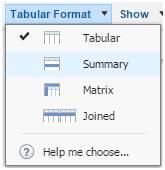 Selector de formato del reporte