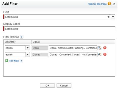 Dashboard filter dialog