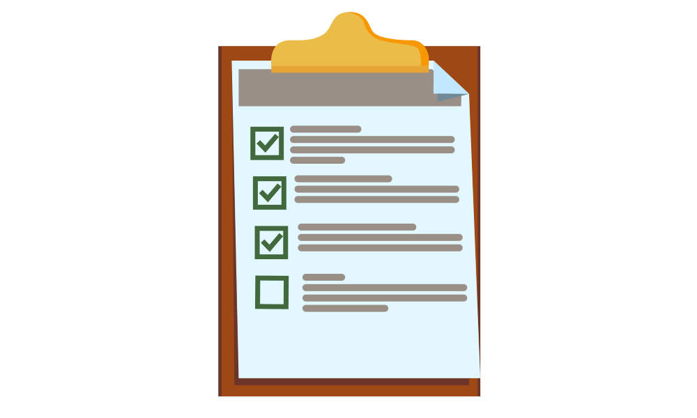 Checklist on a clipboard to show completion of actions.