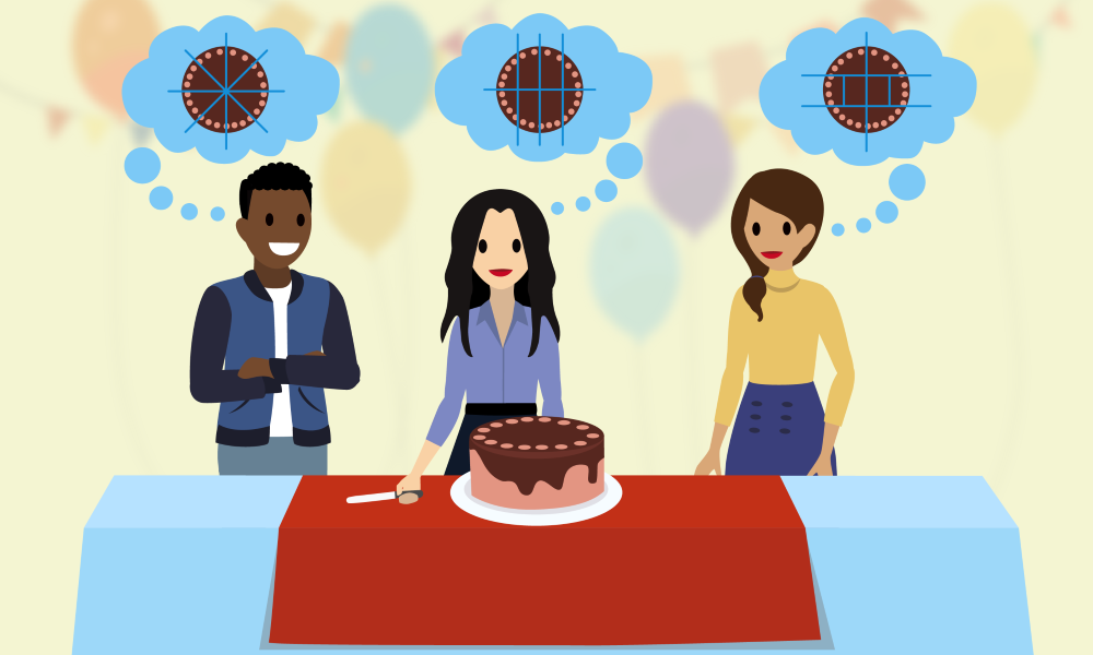 Three people envisioning different equal and fair ways to slice a cake.