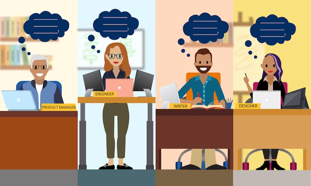 Empregados fazendo perguntas éticas específicas para suas funções.