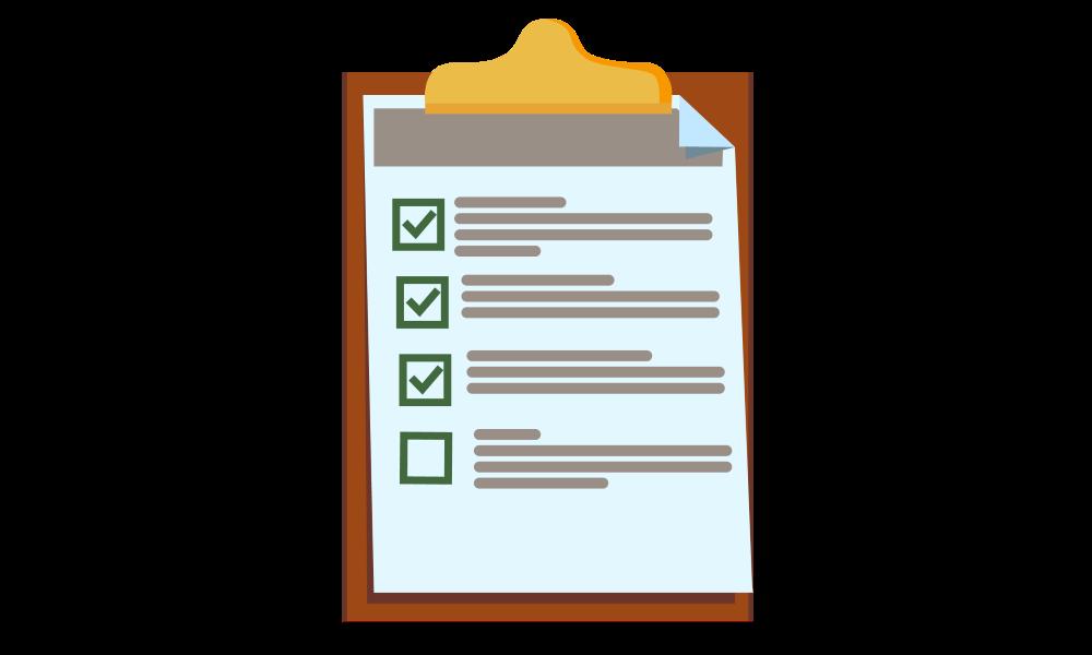 Lista de verificação em uma prancheta para mostrar a conclusão de ações.
