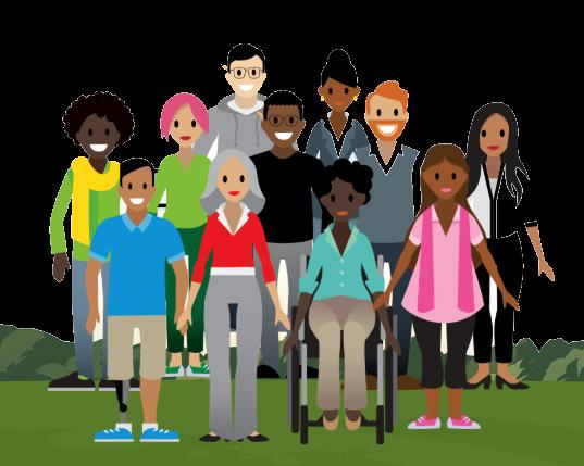 Onze pessoas com uma variedade de habilidades, raças, gêneros e idades.