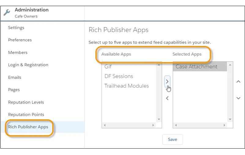 Rich Publisher Apps em Administração do Workspace