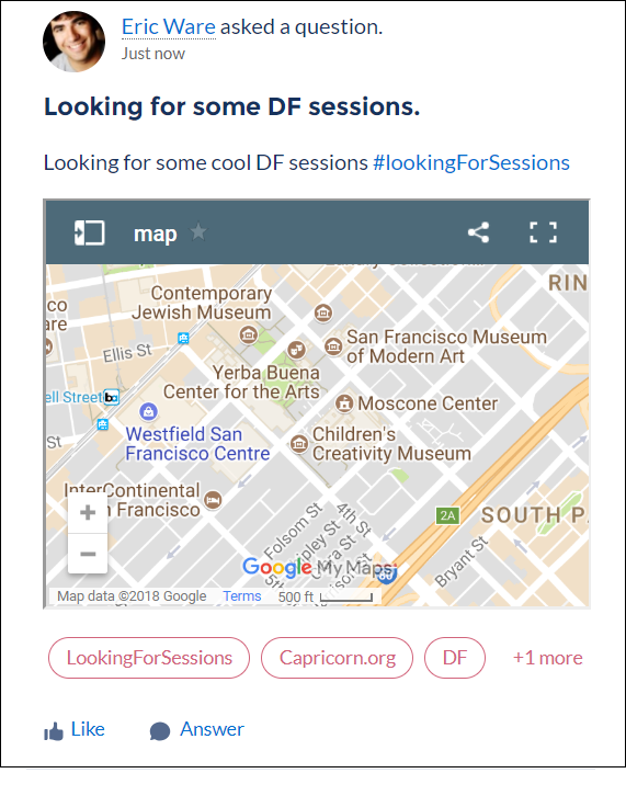 A mapping Rich Publisher App on a feed item