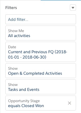 [Key Activities Report (主要な活動レポート)] 用に適切に設定された検索条件