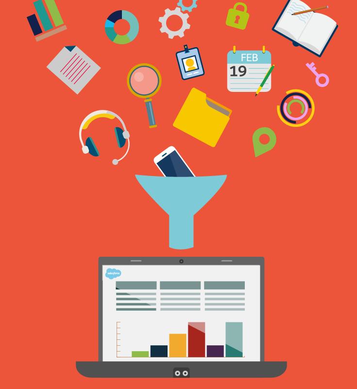 """Dados """"voando"""" por um funil, representando como dados desorganizados ficam organizados no Sales Cloud."""