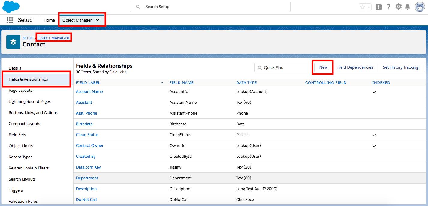 Página do Gerenciador de objetos no menu Configuração, com recursos específicos destacados com caixas em vermelho.