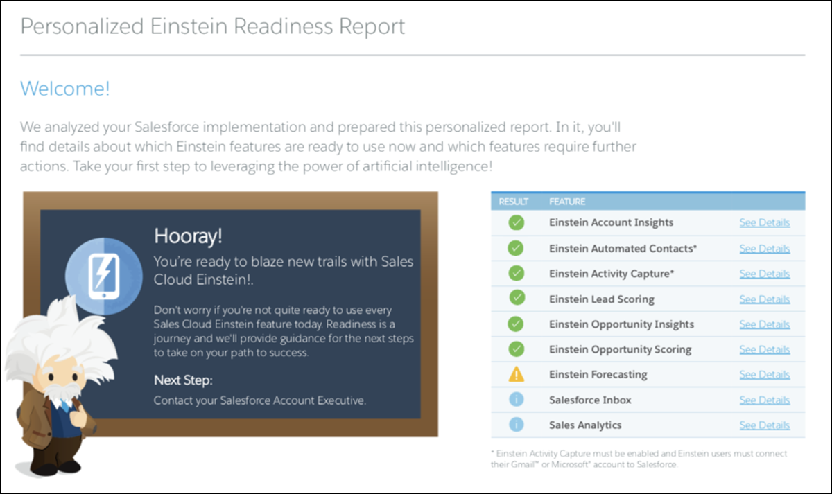 Results from the Sales Cloud Einstein Readiness Assessor show that Honeydew is ready for most of the features