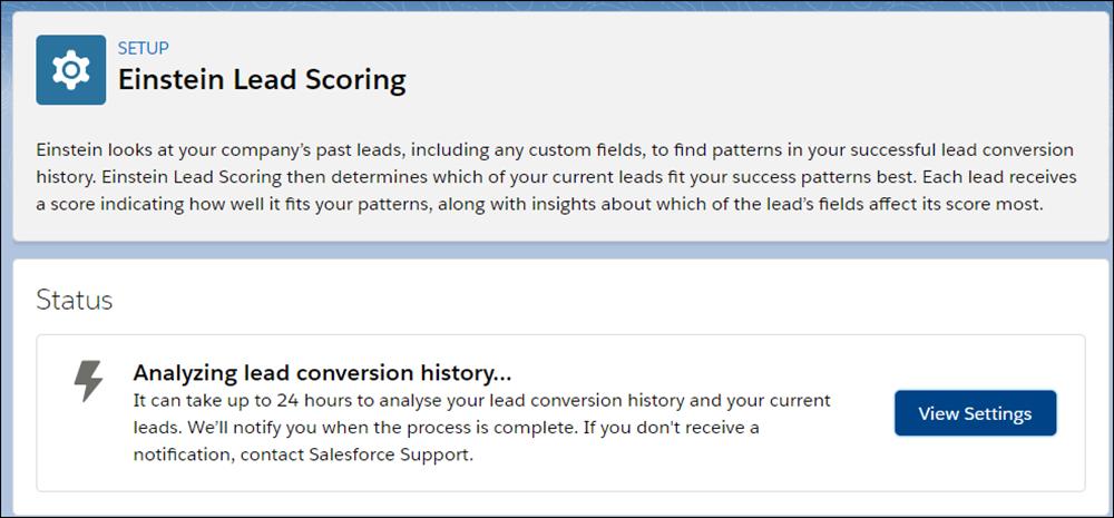 Lead Scoring setup status