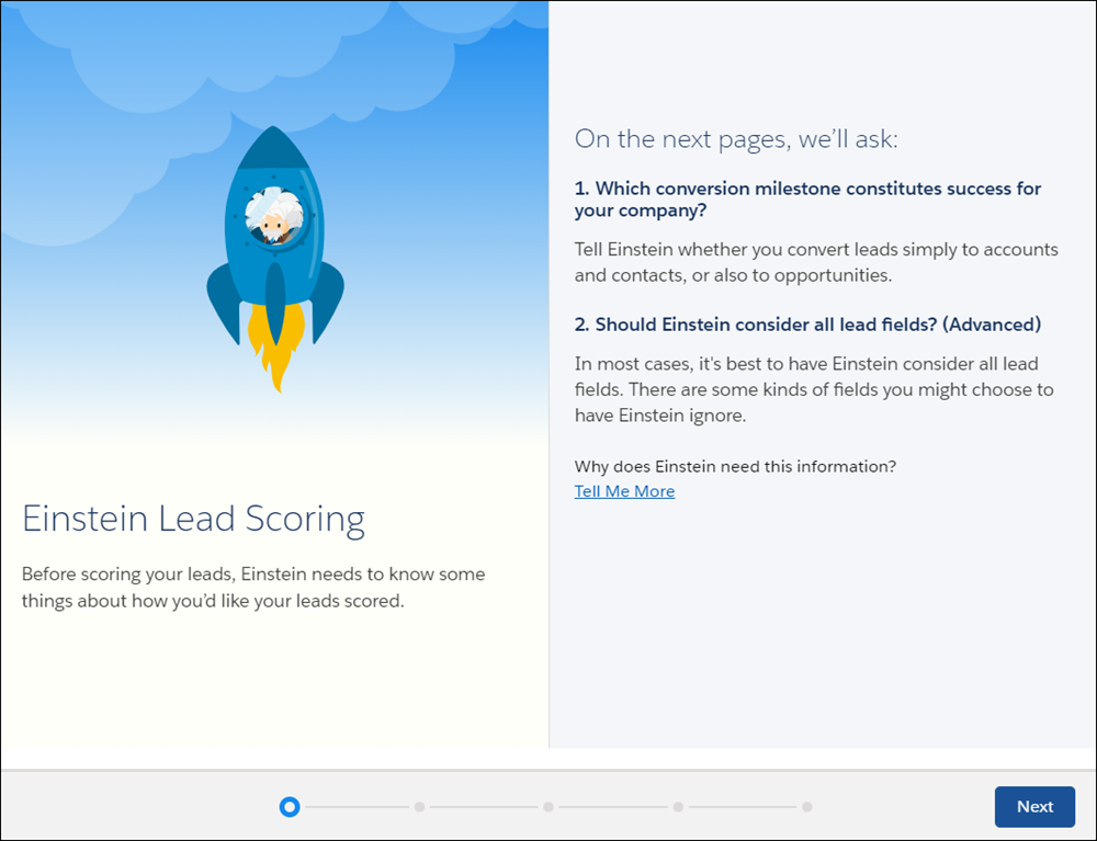 The Lead Scoring setup guides you through additional options