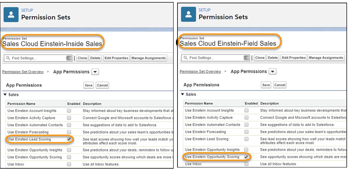 The Sales Cloud Einstein-Inside Sales permission set and Sales Cloud Einstein-Field Sales permission sets