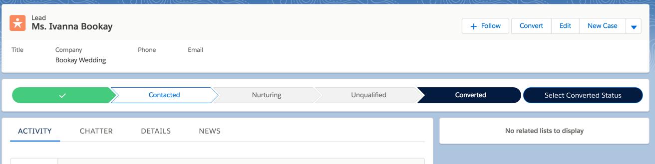 Screenshot of converted status