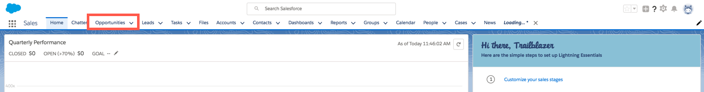 Sales Cloud navigation bar, highlighting the Opportunities object