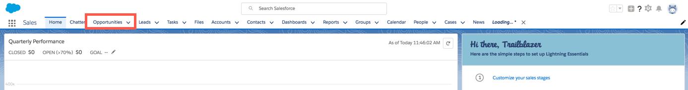 [商談] オブジェクトが強調表示されている Sales Cloud ナビゲーションバー