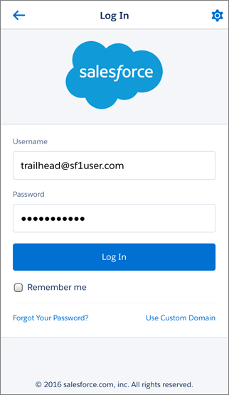 Salesforce1 Login Screen