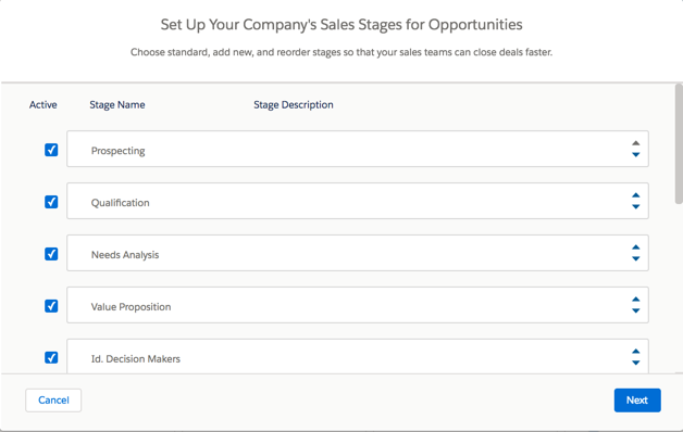 customize sales stages screen