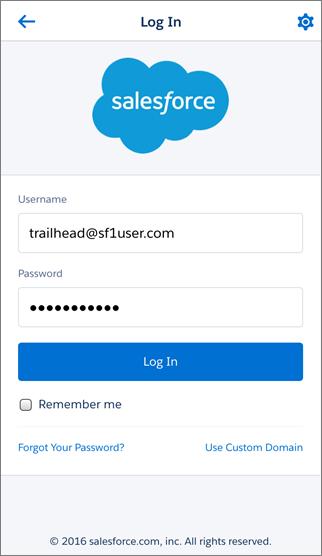 Salesforce1 のログイン画面