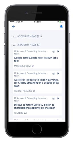 ニュースには顧客に関する重要な情報が表示されます。