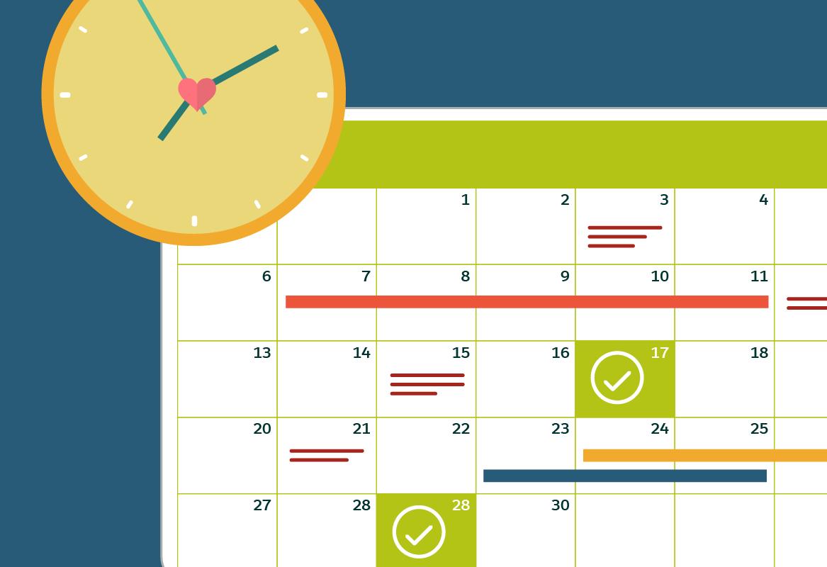 マイルストンの日付がマークされたカレンダーと、実装に必要な時間を示す時計。