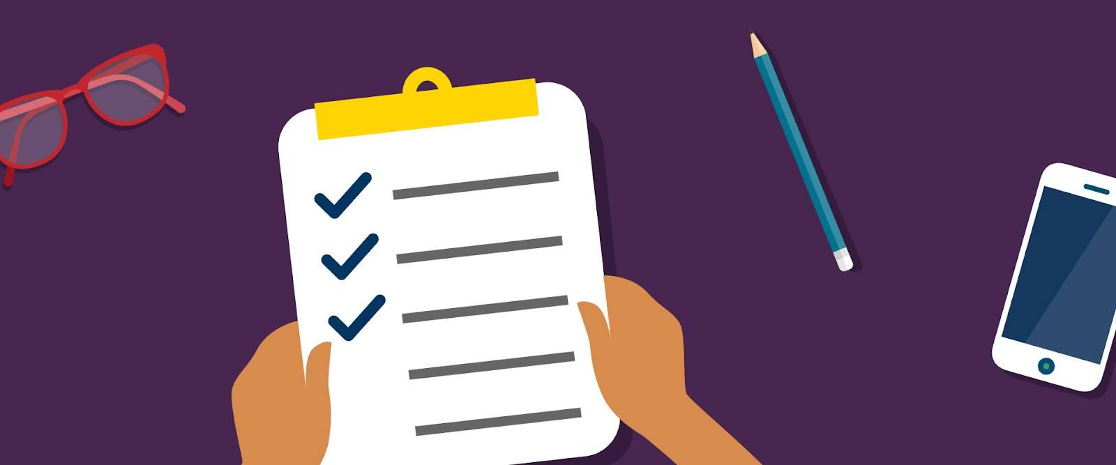 会社の目標をチェックリストで整理しているユーザ。