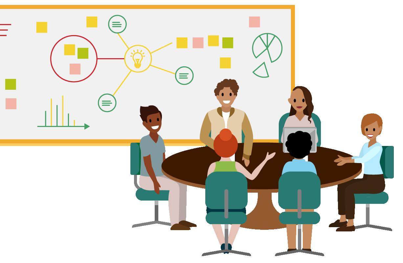 円卓に座って Sales Cloud の実装戦略について話しあっている従業員のチーム。
