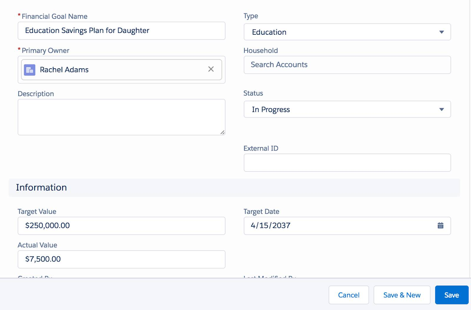 A screenshot showing how Dan uses Salesforce to record Rachel's goal of saving for her daughter's education