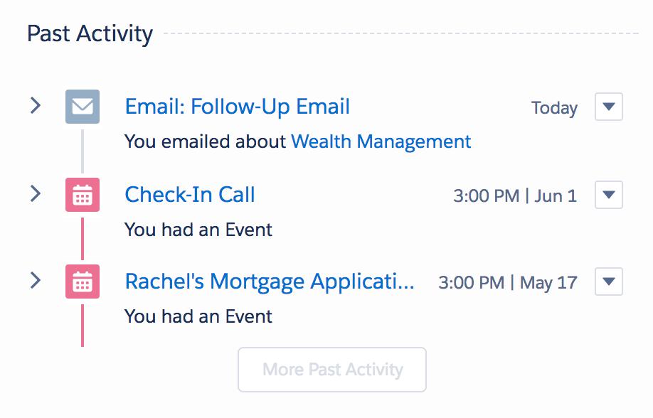 Rachel の Dan とのやり取りの履歴が表示されているスクリーンショット。メール、状況確認の電話、住宅ローン申請が表示されています。