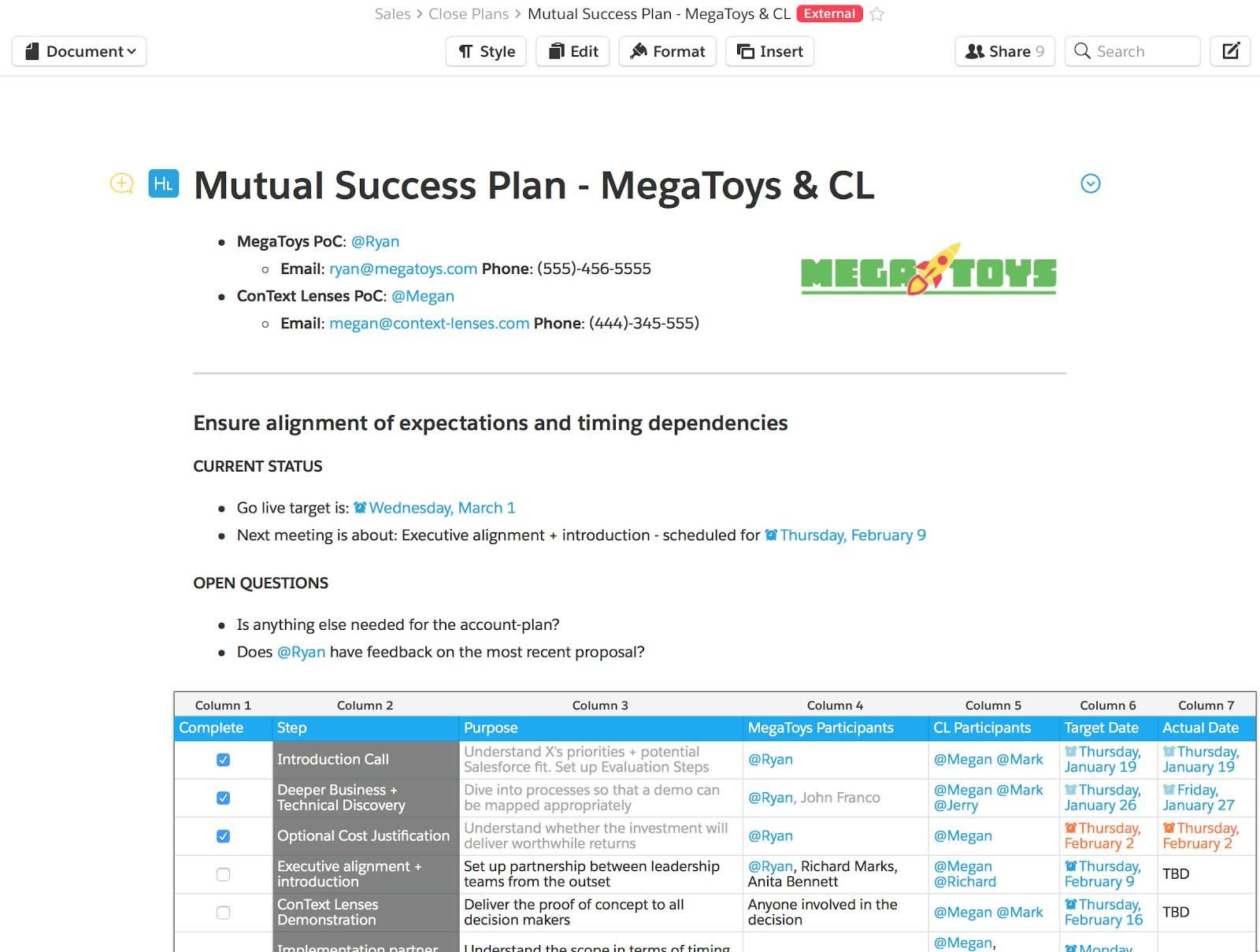 営業チームは取引先のサクセスプランに Quip ドキュメントを使用します。