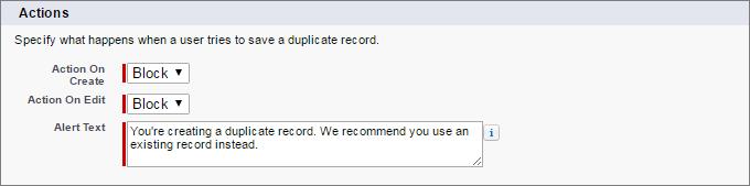 Blockieren von Duplikaten beim Erstellen und Bearbeiten