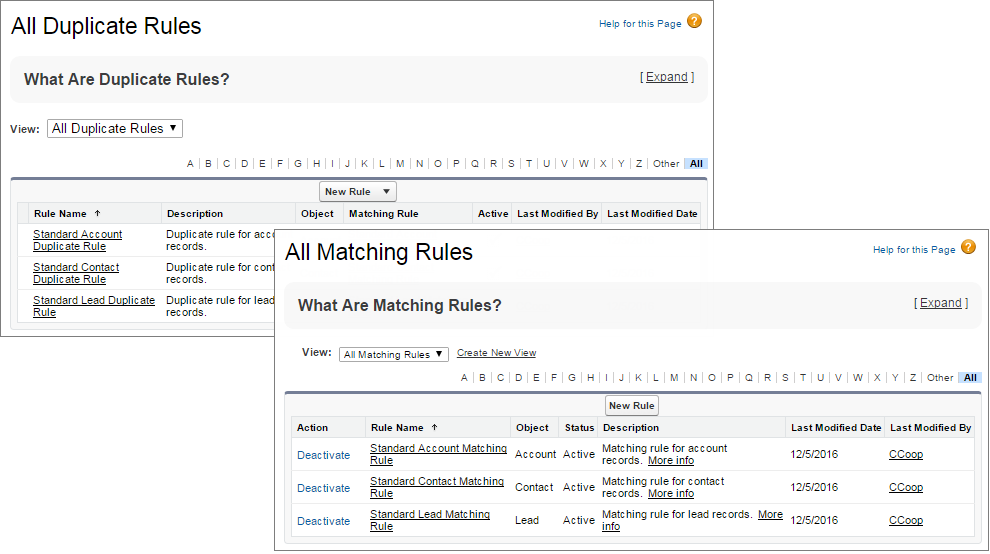 Verwalten von Abgleichsregeln und Duplikatsregeln in Setup