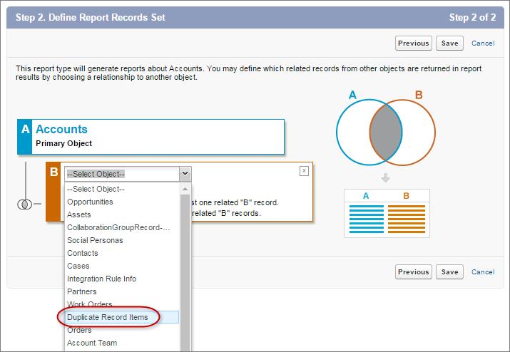 Seleccionar Elementos de registro duplicado como el objeto relacionado