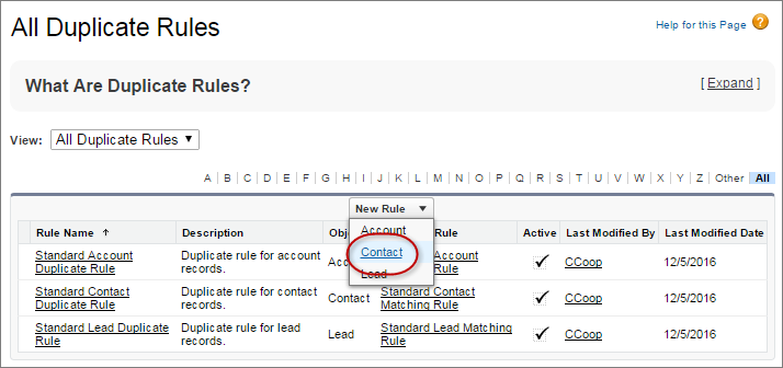 Nueva regla de duplicados para contactos