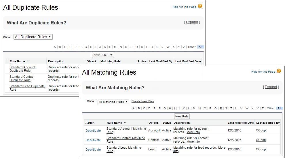 Gestionar reglas de coincidencia y reglas de duplicados en Configuración