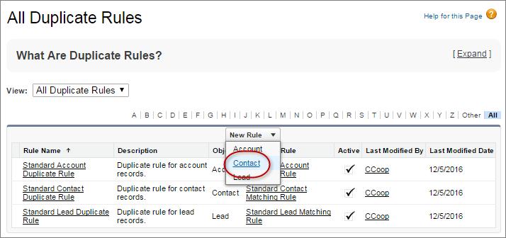 Nouvelle règle de duplication pour les contacts