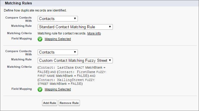 新規および更新された取引先責任者と Salesforce 内の取引先責任者の比較