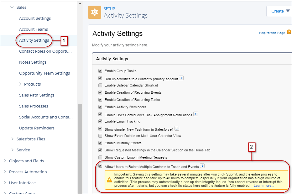 Enabled Shared Activities in Activity Settings