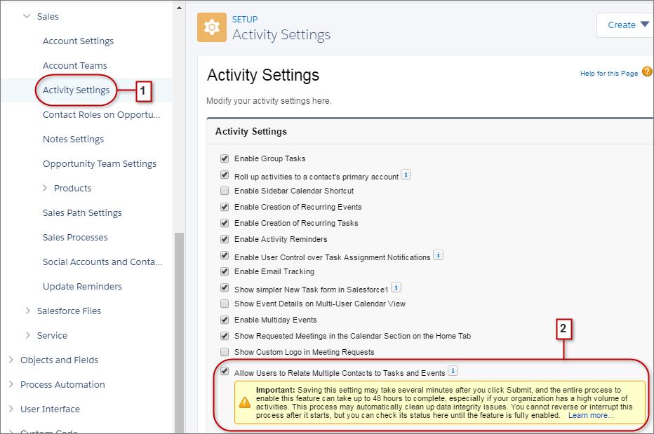 Recurso Atividades compartilhadas ativado nas Configurações de atividades