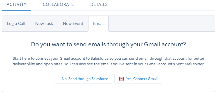 Prompt to connect external email account to Salesforce