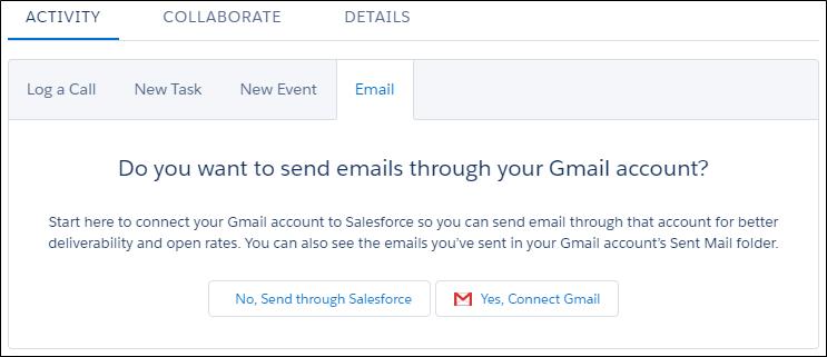 外部メールアカウントを Salesforce に接続するときのプロンプト